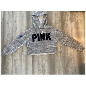 PINK cropped hoodie with arm decal